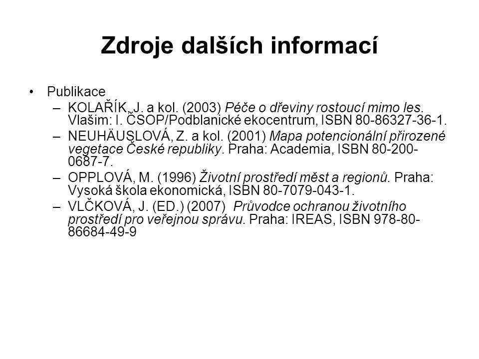 Zdroje dalších informací Publikace –KOLAŘÍK, J.a kol.