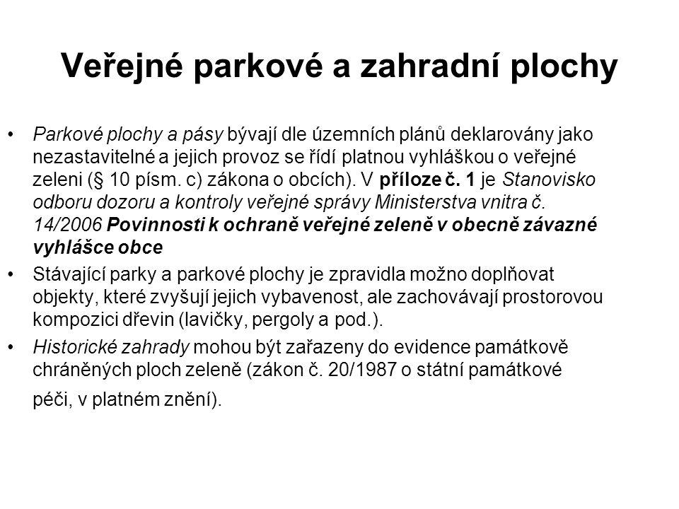 Veřejné parkové a zahradní plochy Parkové plochy a pásy bývají dle územních plánů deklarovány jako nezastavitelné a jejich provoz se řídí platnou vyhláškou o veřejné zeleni (§ 10 písm.