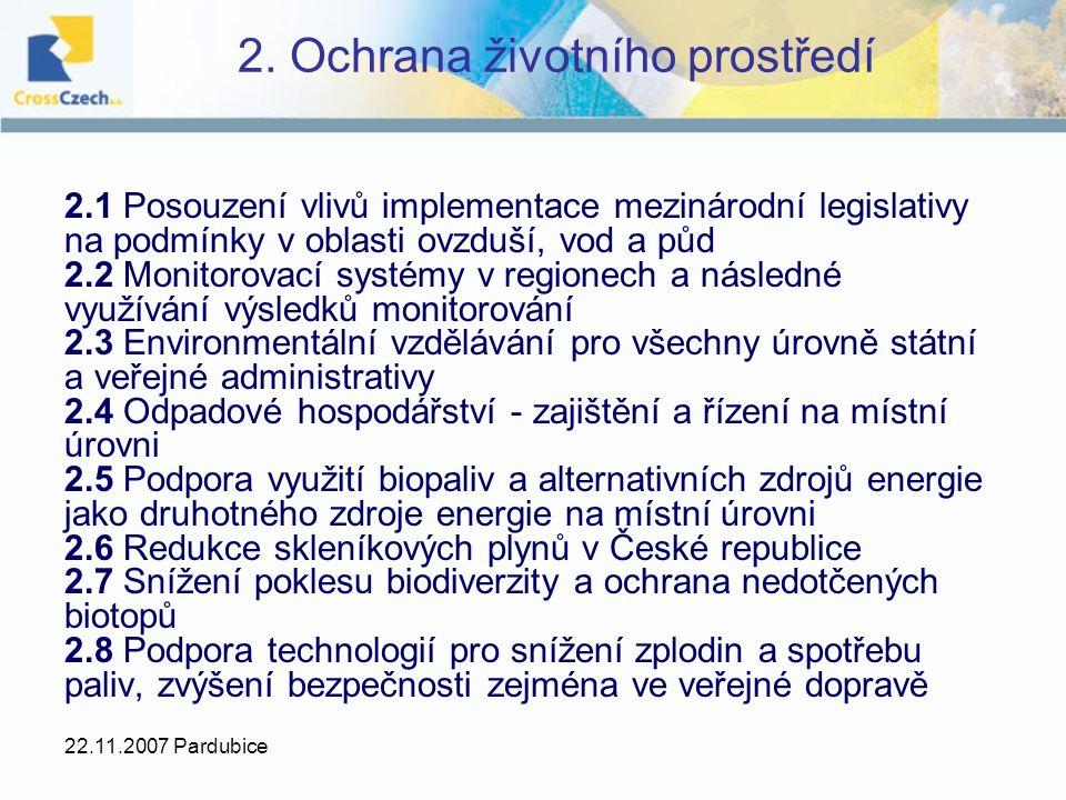 22.11.2007 Pardubice 2. Ochrana životního prostředí 2.1 Posouzení vlivů implementace mezinárodní legislativy na podmínky v oblasti ovzduší, vod a půd