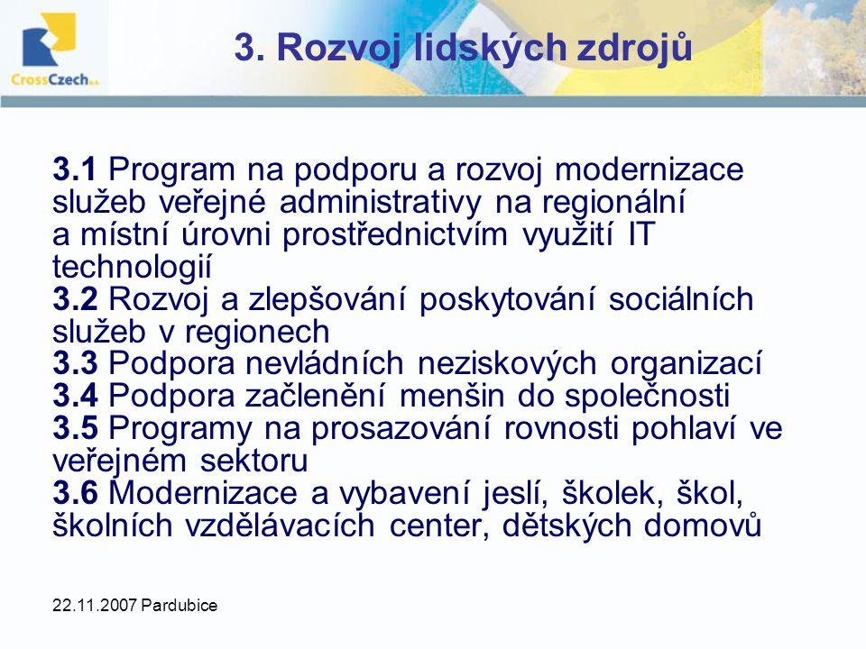 22.11.2007 Pardubice 3. Rozvoj lidských zdrojů 3.1 Program na podporu a rozvoj modernizace služeb veřejné administrativy na regionální a místní úrovni