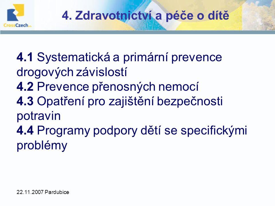 22.11.2007 Pardubice 4. Zdravotnictví a péče o dítě 4.1 Systematická a primární prevence drogových závislostí 4.2 Prevence přenosných nemocí 4.3 Opatř