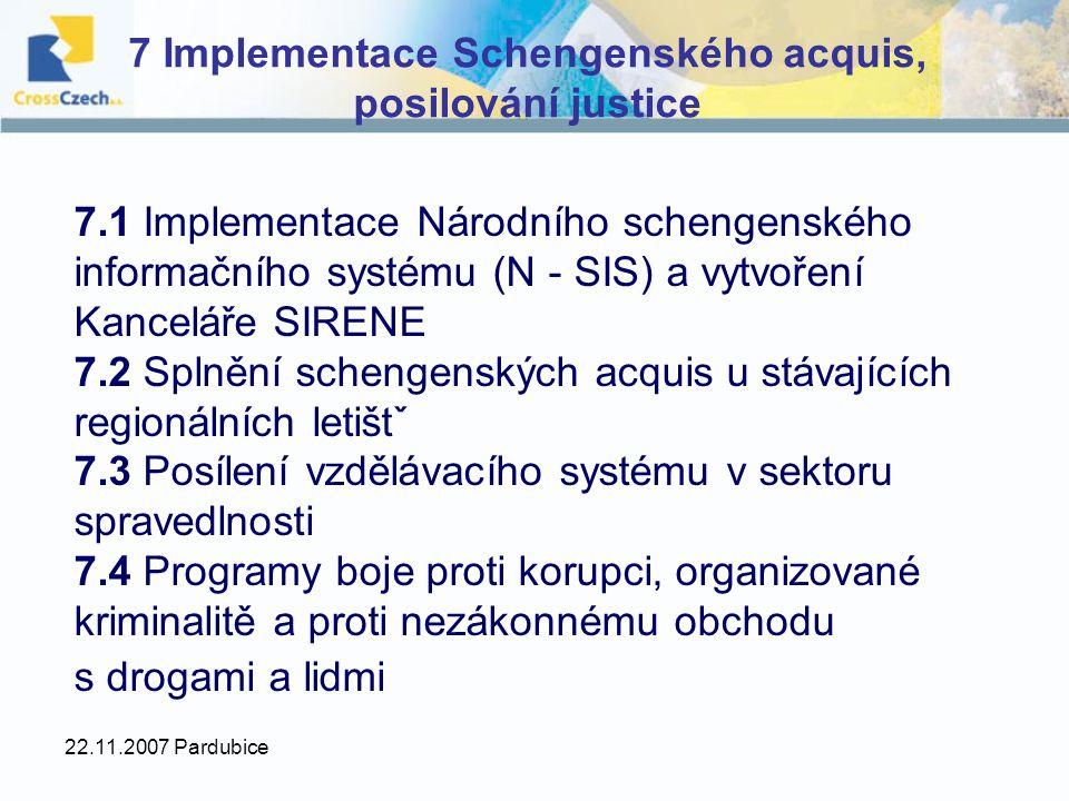 22.11.2007 Pardubice 7 Implementace Schengenského acquis, posilování justice 7.1 Implementace Národního schengenského informačního systému (N - SIS) a