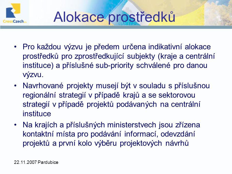 22.11.2007 Pardubice Alokace prostředků Pro každou výzvu je předem určena indikativní alokace prostředků pro zprostředkující subjekty (kraje a centrál
