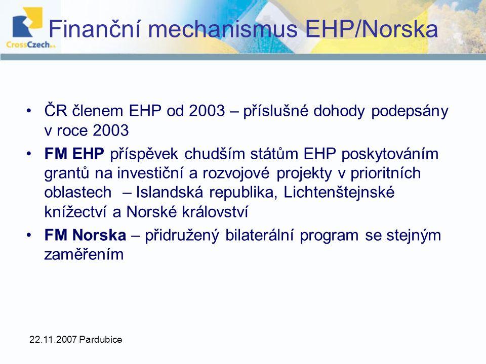 22.11.2007 Pardubice Finanční mechanismus EHP/Norska ČR členem EHP od 2003 – příslušné dohody podepsány v roce 2003 FM EHP příspěvek chudším státům EH