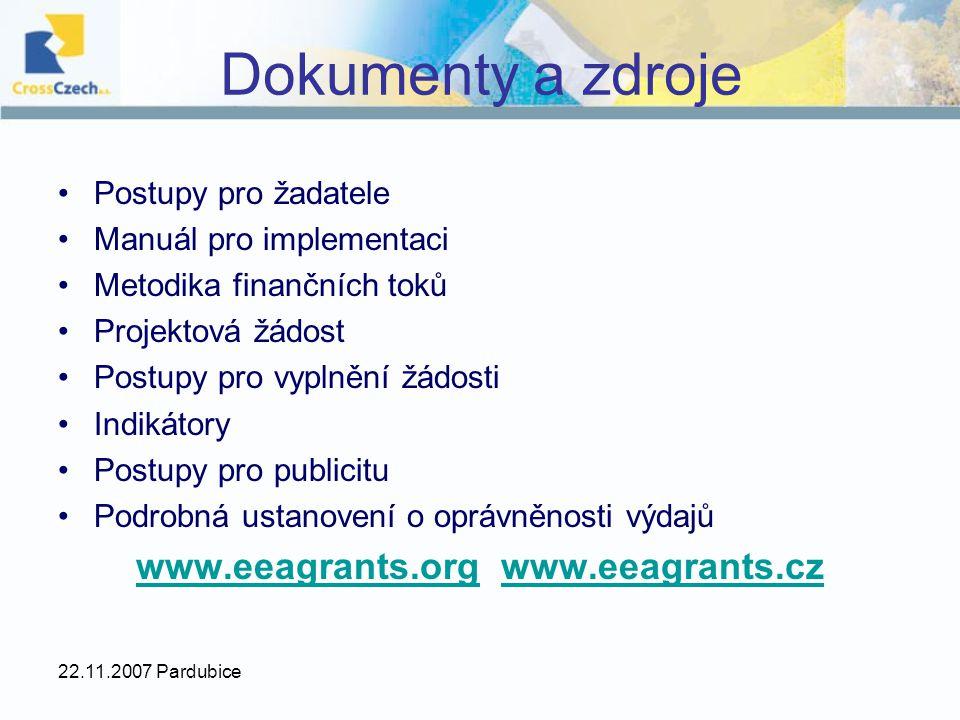 22.11.2007 Pardubice Dokumenty a zdroje Postupy pro žadatele Manuál pro implementaci Metodika finančních toků Projektová žádost Postupy pro vyplnění ž