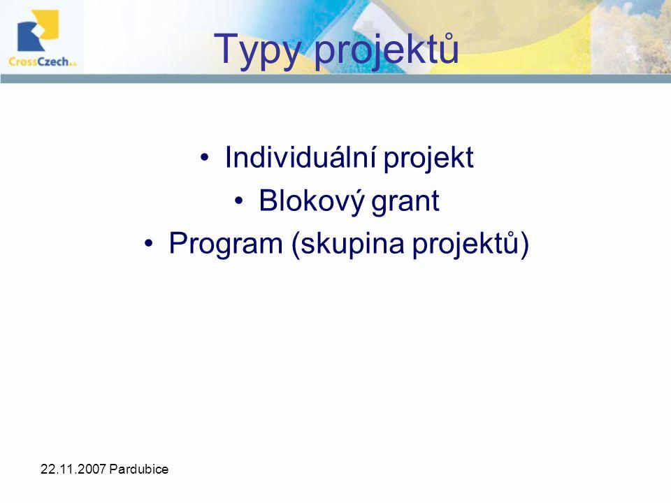 22.11.2007 Pardubice Typy projektů Individuální projekt Blokový grant Program (skupina projektů)