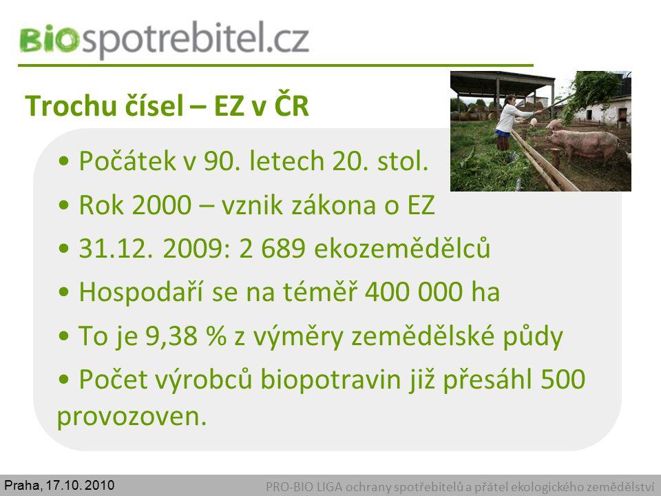 Trochu čísel – EZ v ČR PRO-BIO LIGA ochrany spotřebitelů a přátel ekologického zemědělství Počátek v 90. letech 20. stol. Rok 2000 – vznik zákona o EZ