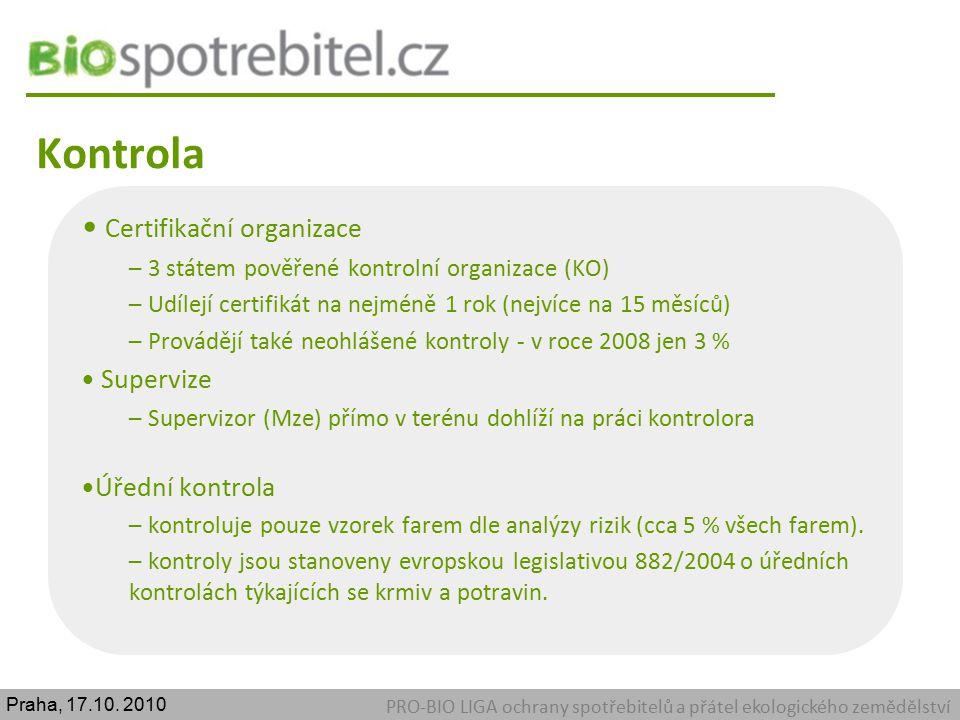 Kontrola PRO-BIO LIGA ochrany spotřebitelů a přátel ekologického zemědělství Certifikační organizace – 3 státem pověřené kontrolní organizace (KO) – U