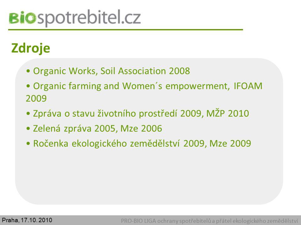 Zdroje PRO-BIO LIGA ochrany spotřebitelů a přátel ekologického zemědělství Organic Works, Soil Association 2008 Organic farming and Women´s empowermen