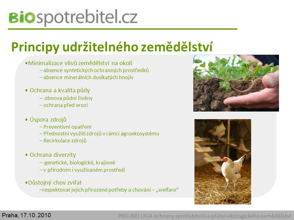 Principy udržitelného zemědělství PRO-BIO LIGA ochrany spotřebitelů a přátel ekologického zemědělství Minimalizace vlivů zemědělství na okolí – absenc