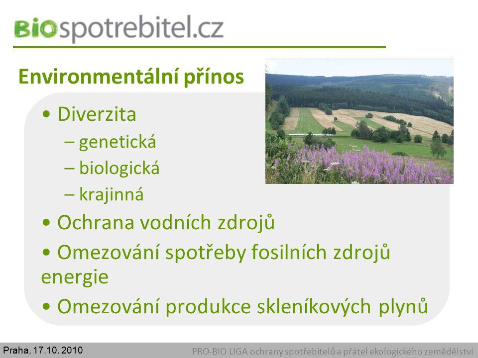 Environmentální přínos PRO-BIO LIGA ochrany spotřebitelů a přátel ekologického zemědělství Diverzita – genetická – biologická – krajinná Ochrana vodní