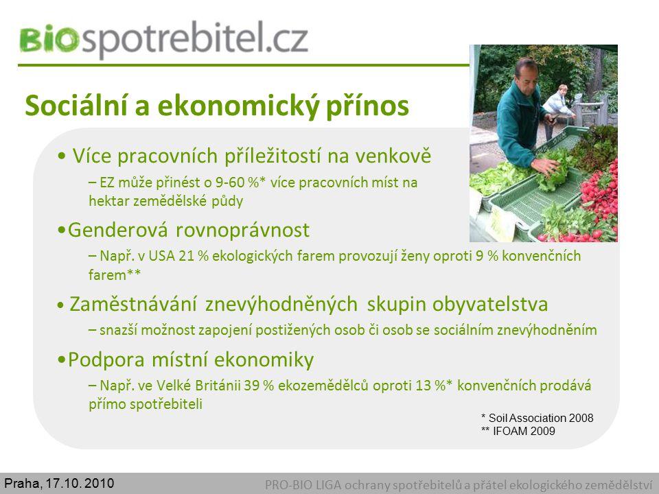 Sociální a ekonomický přínos PRO-BIO LIGA ochrany spotřebitelů a přátel ekologického zemědělství Více pracovních příležitostí na venkově – EZ může při
