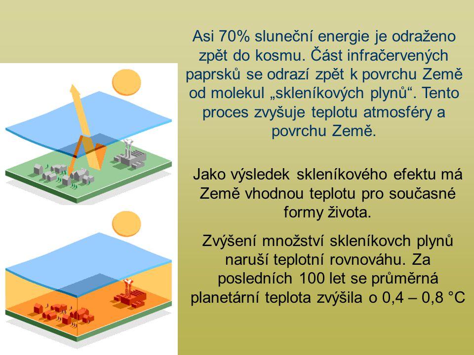 Jako výsledek skleníkového efektu má Země vhodnou teplotu pro současné formy života.