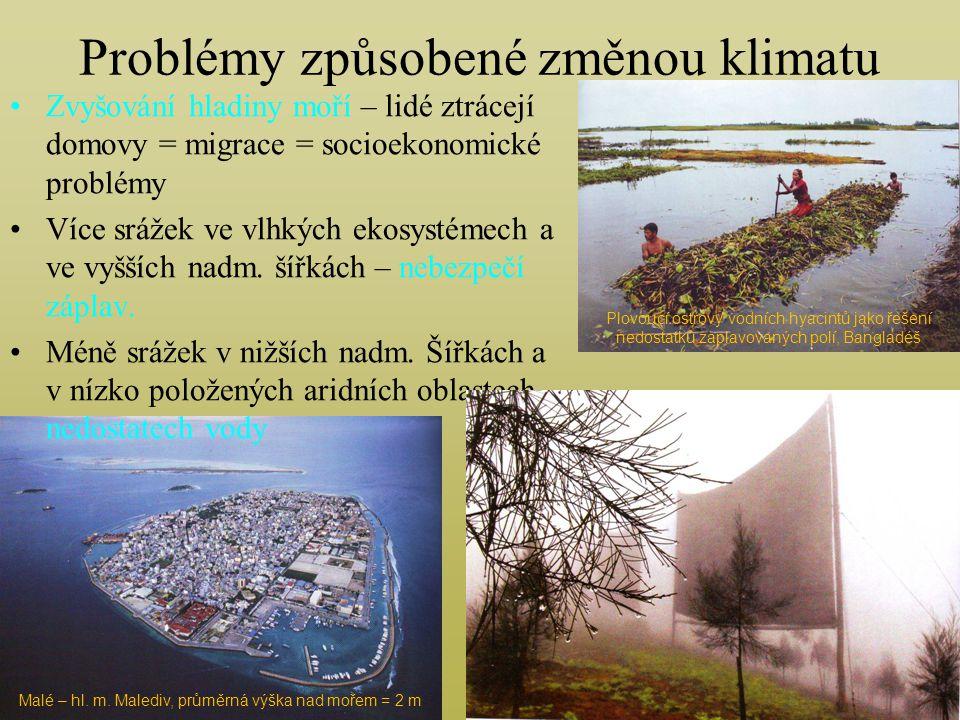 Problémy způsobené změnou klimatu Zvyšování hladiny moří – lidé ztrácejí domovy = migrace = socioekonomické problémy Více srážek ve vlhkých ekosystémech a ve vyšších nadm.