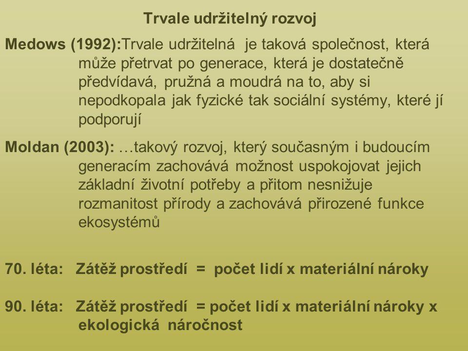 Trvale udržitelný rozvoj Medows (1992):Trvale udržitelná je taková společnost, která může přetrvat po generace, která je dostatečně předvídavá, pružná a moudrá na to, aby si nepodkopala jak fyzické tak sociální systémy, které jí podporují Moldan (2003): …takový rozvoj, který současným i budoucím generacím zachovává možnost uspokojovat jejich základní životní potřeby a přitom nesnižuje rozmanitost přírody a zachovává přirozené funkce ekosystémů 70.