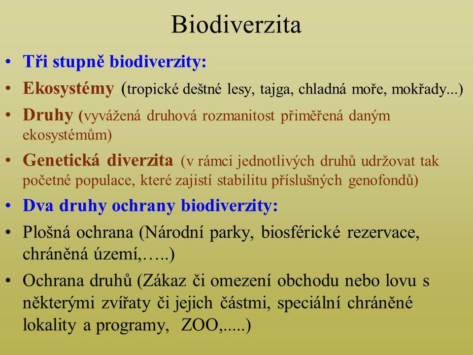 Biodiverzita Tři stupně biodiverzity: Ekosystémy ( tropické deštné lesy, tajga, chladná moře, mokřady...) Druhy (vyvážená druhová rozmanitost přiměřená daným ekosystémům) Genetická diverzita (v rámci jednotlivých druhů udržovat tak početné populace, které zajistí stabilitu příslušných genofondů) Dva druhy ochrany biodiverzity: Plošná ochrana (Národní parky, biosférické rezervace, chráněná území,…..) Ochrana druhů (Zákaz či omezení obchodu nebo lovu s některými zvířaty či jejich částmi, speciální chráněné lokality a programy, ZOO,.....)