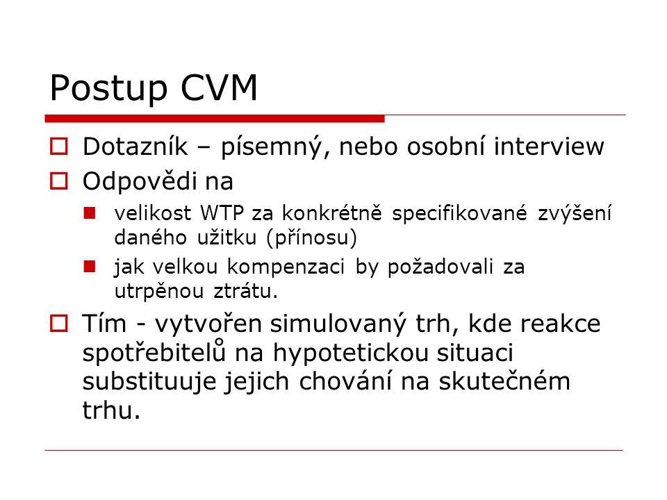 Postup CVM  Dotazník – písemný, nebo osobní interview  Odpovědi na velikost WTP za konkrétně specifikované zvýšení daného užitku (přínosu) jak velkou kompenzaci by požadovali za utrpěnou ztrátu.