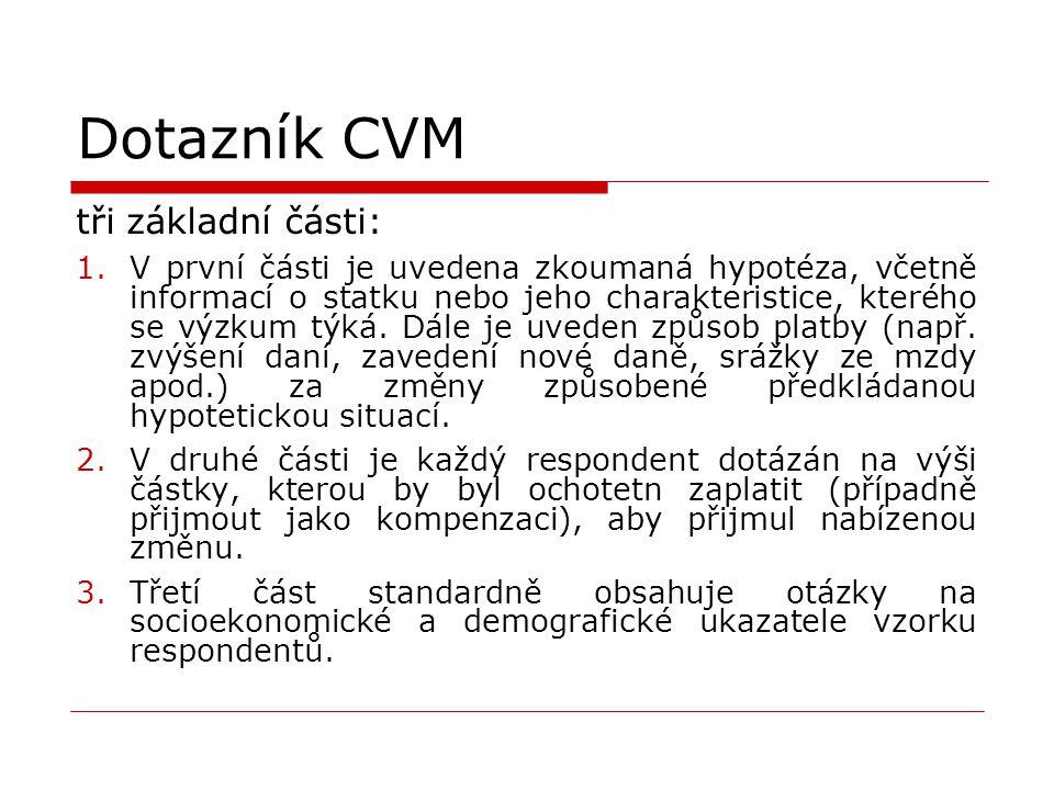 Dotazník CVM tři základní části: 1.V první části je uvedena zkoumaná hypotéza, včetně informací o statku nebo jeho charakteristice, kterého se výzkum týká.