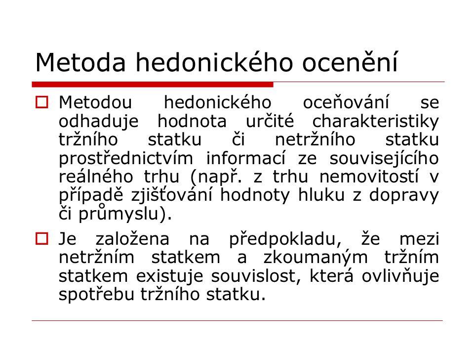 Metoda hedonického ocenění  Metodou hedonického oceňování se odhaduje hodnota určité charakteristiky tržního statku či netržního statku prostřednictvím informací ze souvisejícího reálného trhu (např.