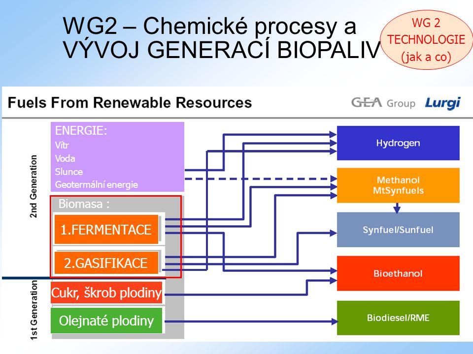 Bučovice 9.12.2008 21 WG2 – Chemické procesy a VÝVOJ GENERACÍ BIOPALIV Cukr, škrob plodiny Olejnaté plodiny 2.GASIFIKACE 1.FERMENTACE ENERGIE: Vítr Voda Slunce Geotermální energie Biomasa : WG 2 TECHNOLOGIE (jak a co)