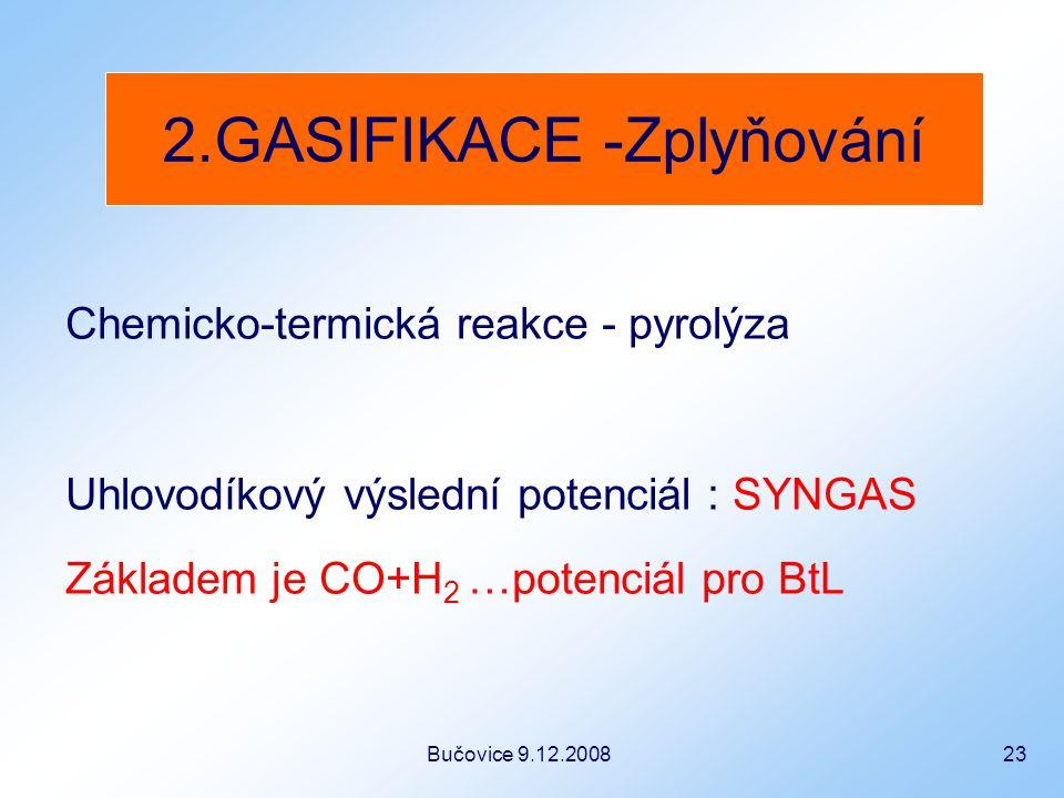 Bučovice 9.12.2008 23 Chemicko-termická reakce - pyrolýza Uhlovodíkový výslední potenciál : SYNGAS Základem je CO+H 2 …potenciál pro BtL 2.GASIFIKACE -Zplyňování