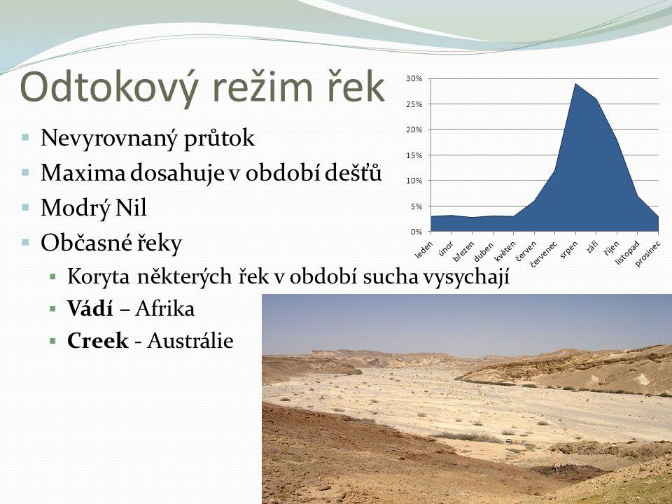 Odtokový režim řek  Nevyrovnaný průtok  Maxima dosahuje v období dešťů  Modrý Nil  Občasné řeky  Koryta některých řek v období sucha vysychají 