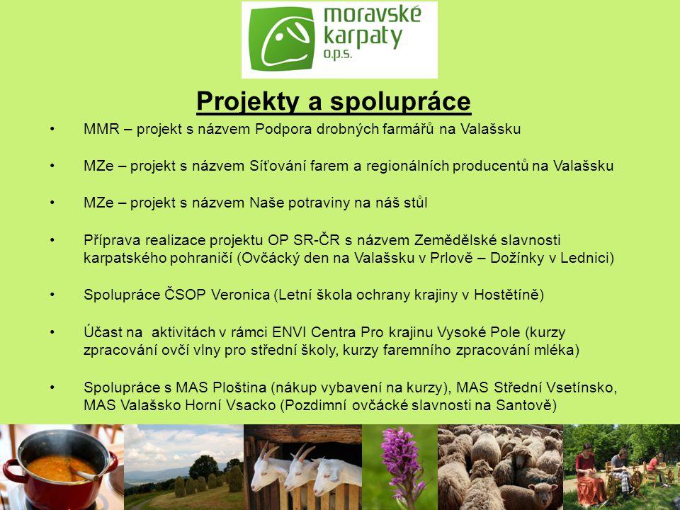 Projekty a spolupráce MMR – projekt s názvem Podpora drobných farmářů na Valašsku MZe – projekt s názvem Síťování farem a regionálních producentů na V