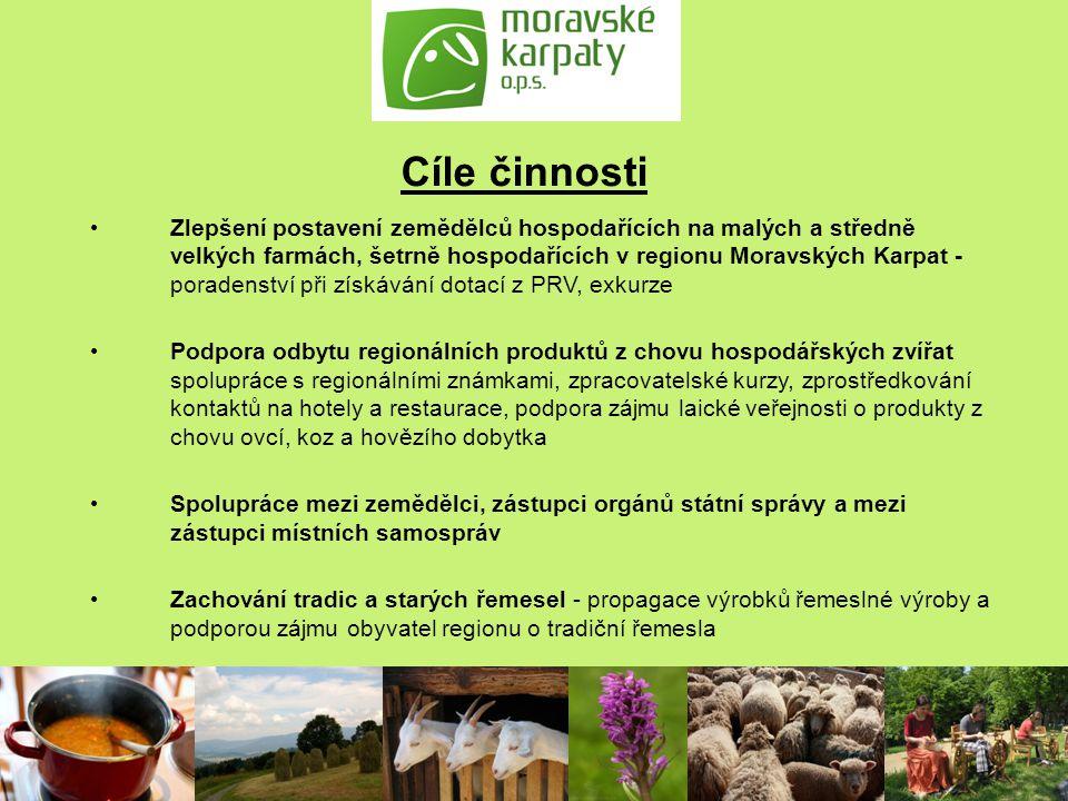 Cíle činnosti Zlepšení postavení zemědělců hospodařících na malých a středně velkých farmách, šetrně hospodařících v regionu Moravských Karpat - porad