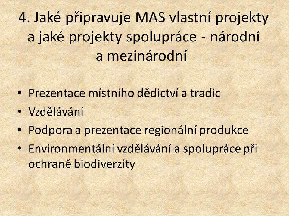 4. Jaké připravuje MAS vlastní projekty a jaké projekty spolupráce - národní a mezinárodní Prezentace místního dědictví a tradic Vzdělávání Podpora a