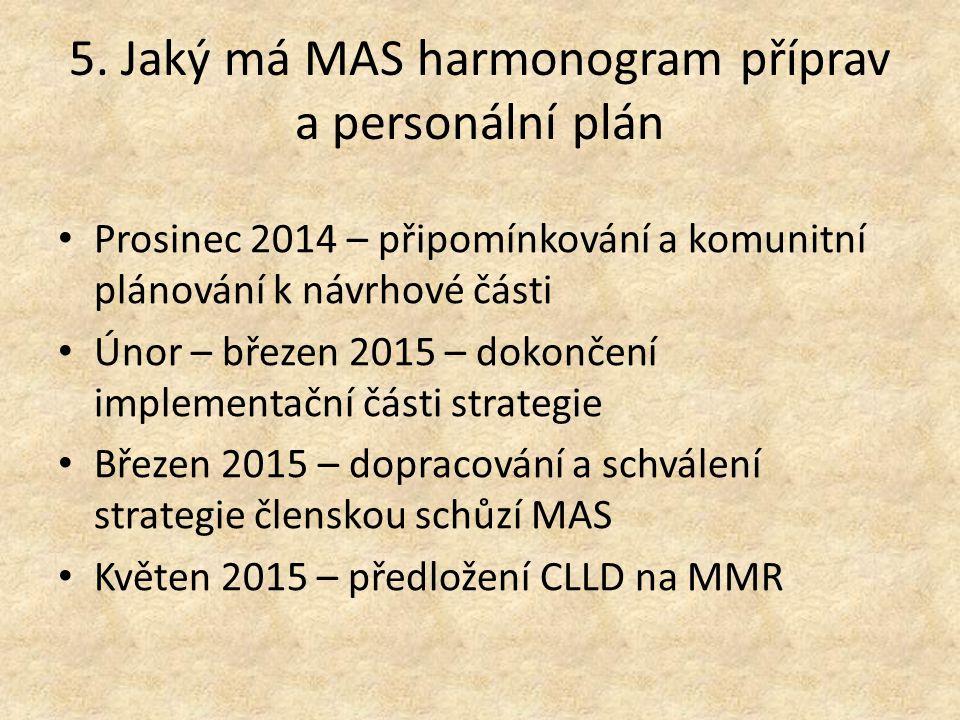 5. Jaký má MAS harmonogram příprav a personální plán Prosinec 2014 – připomínkování a komunitní plánování k návrhové části Únor – březen 2015 – dokonč