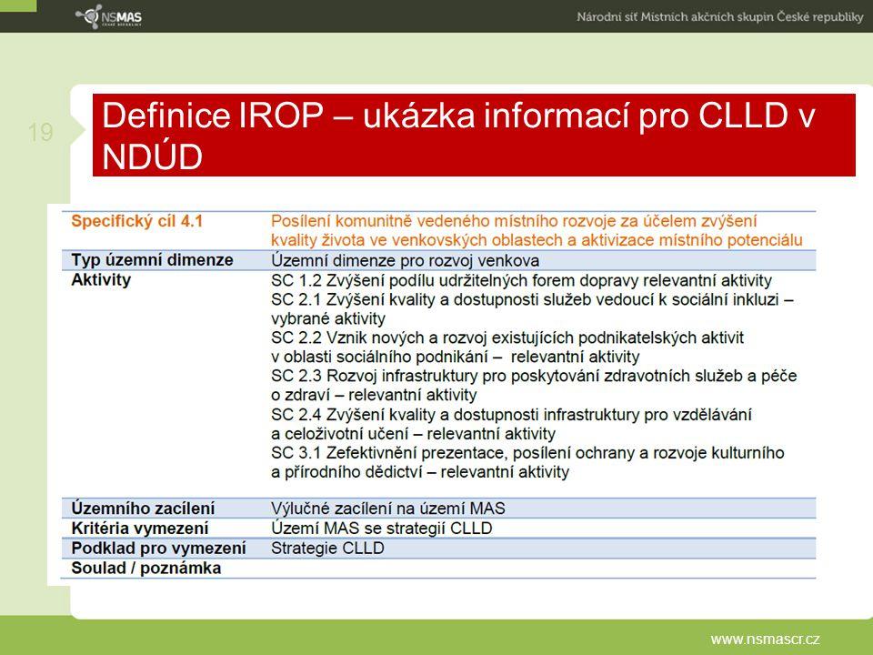 Definice IROP – ukázka informací pro CLLD v NDÚD www.nsmascr.cz 19