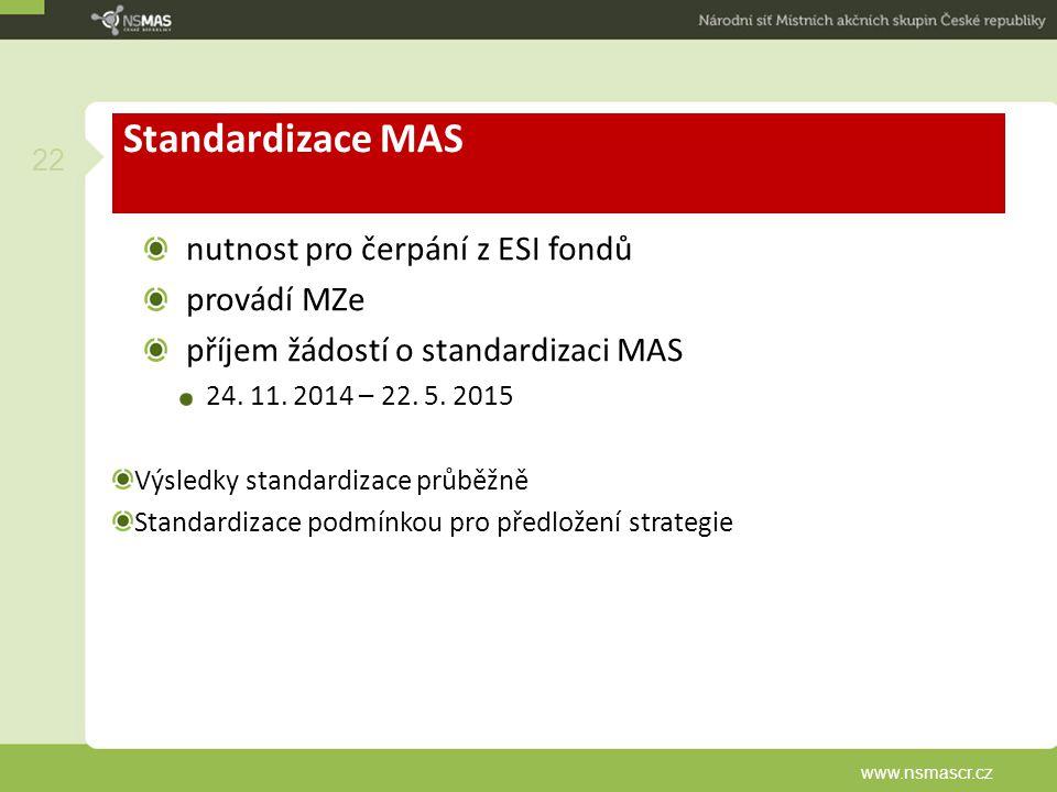 Standardizace MAS nutnost pro čerpání z ESI fondů provádí MZe příjem žádostí o standardizaci MAS 24. 11. 2014 – 22. 5. 2015 Výsledky standardizace prů