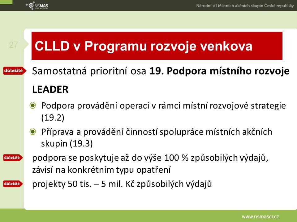 CLLD v Programu rozvoje venkova Samostatná prioritní osa 19. Podpora místního rozvoje LEADER Podpora provádění operací v rámci místní rozvojové strate