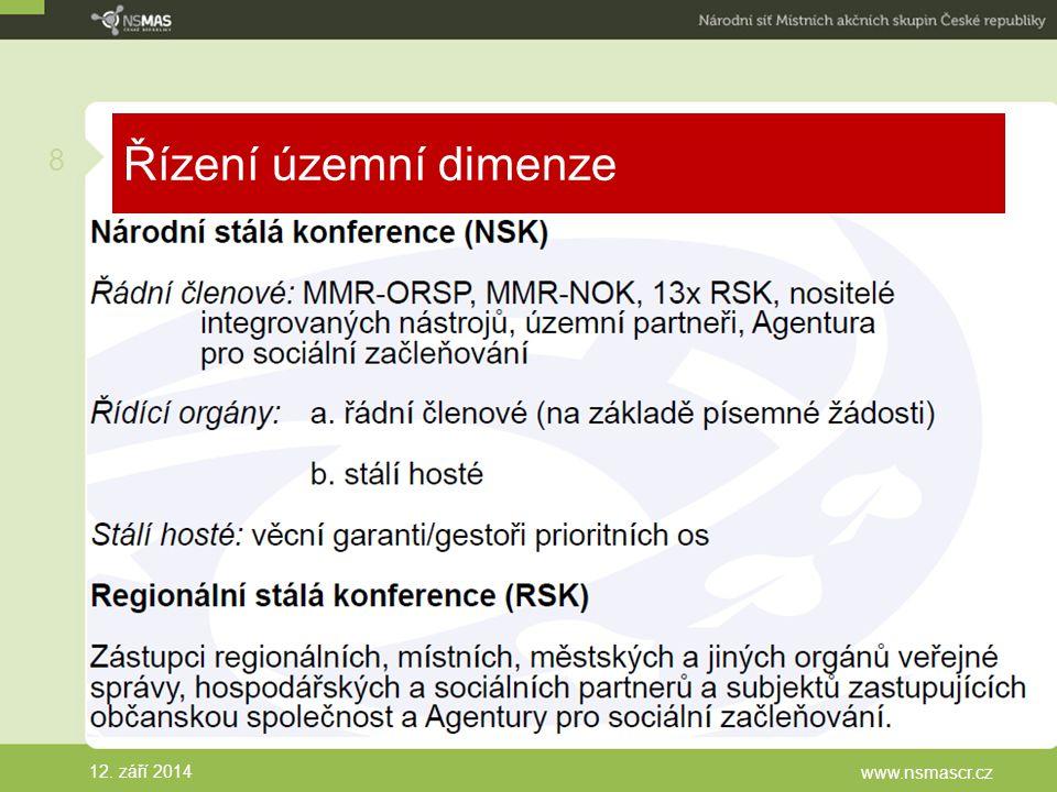 Řízení územní dimenze 12. září 2014 www.nsmascr.cz 8