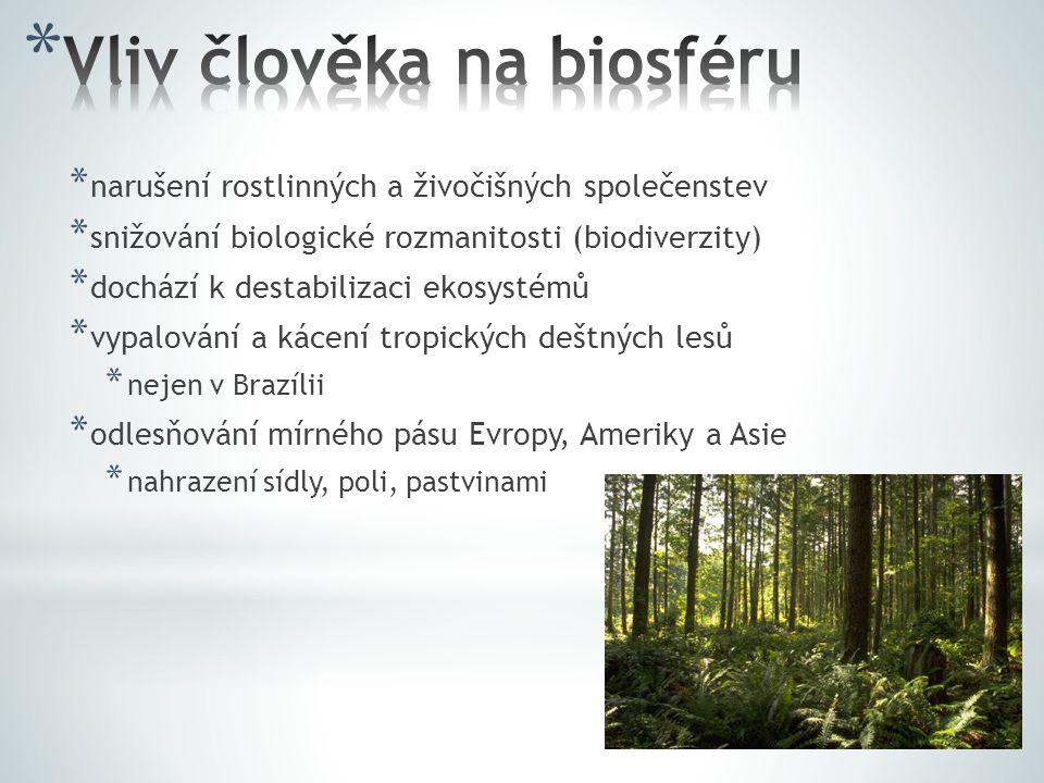 * narušení rostlinných a živočišných společenstev * snižování biologické rozmanitosti (biodiverzity) * dochází k destabilizaci ekosystémů * vypalování