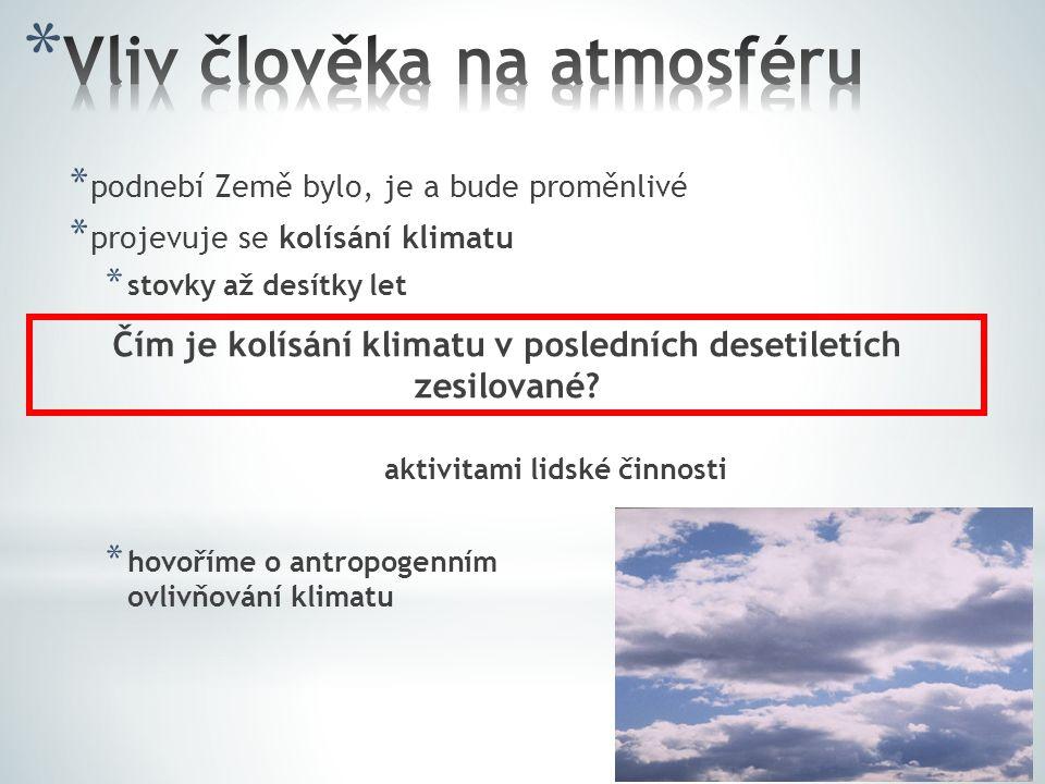* podnebí Země bylo, je a bude proměnlivé * projevuje se kolísání klimatu * stovky až desítky let aktivitami lidské činnosti * hovoříme o antropogenní