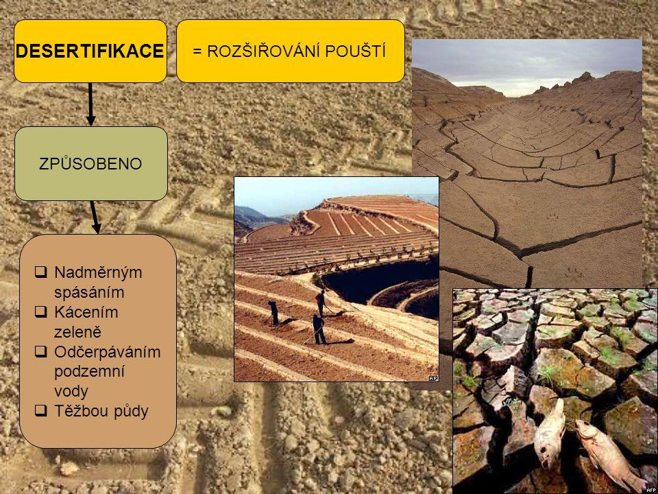 DESERTIFIKACE = ROZŠIŘOVÁNÍ POUŠTÍ ZPŮSOBENO  Nadměrným spásáním  Kácením zeleně  Odčerpáváním podzemní vody  Těžbou půdy