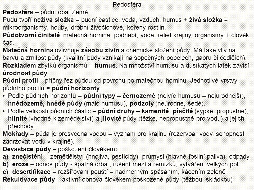 Pedosféra Pedosféra – půdní obal Země Půdu tvoří neživá složka = půdní částice, voda, vzduch, humus + živá složka = mikroorganismy, houby, drobní živo