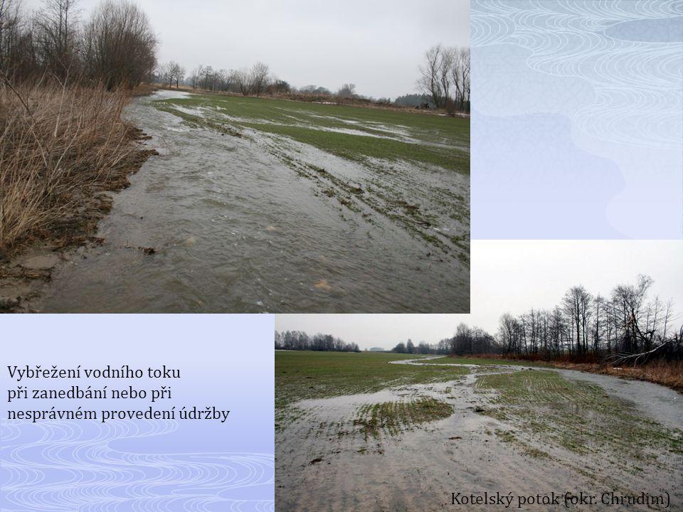 Vybřežení vodního toku při zanedbání nebo při nesprávném provedení údržby Kotelský potok (okr.