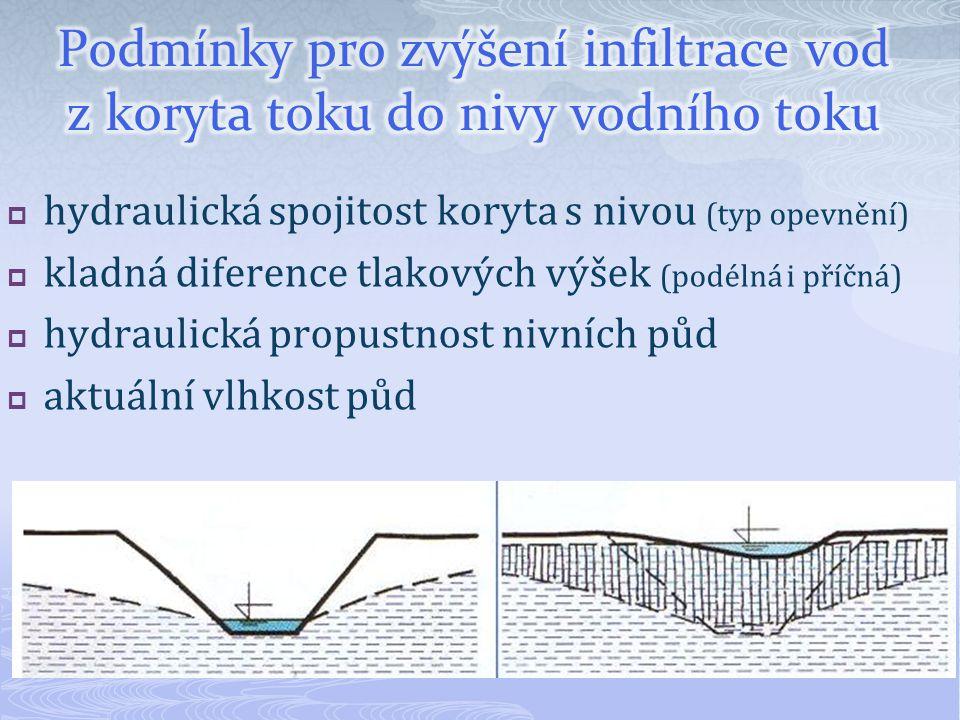  hydraulická spojitost koryta s nivou (typ opevnění)  kladná diference tlakových výšek (podélná i příčná)  hydraulická propustnost nivních půd  aktuální vlhkost půd