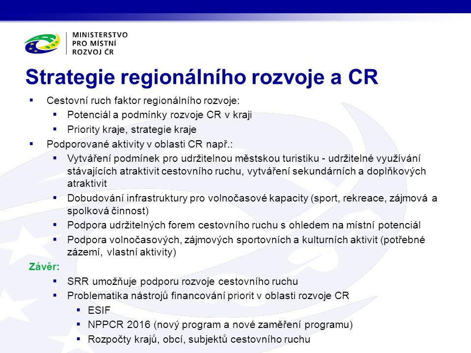 Strategie regionálního rozvoje a CR  Cestovní ruch faktor regionálního rozvoje:  Potenciál a podmínky rozvoje CR v kraji  Priority kraje, strategie