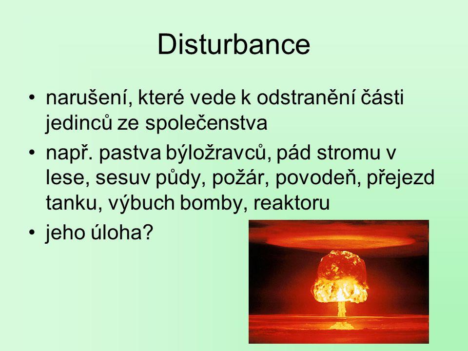 Disturbance narušení, které vede k odstranění části jedinců ze společenstva např.