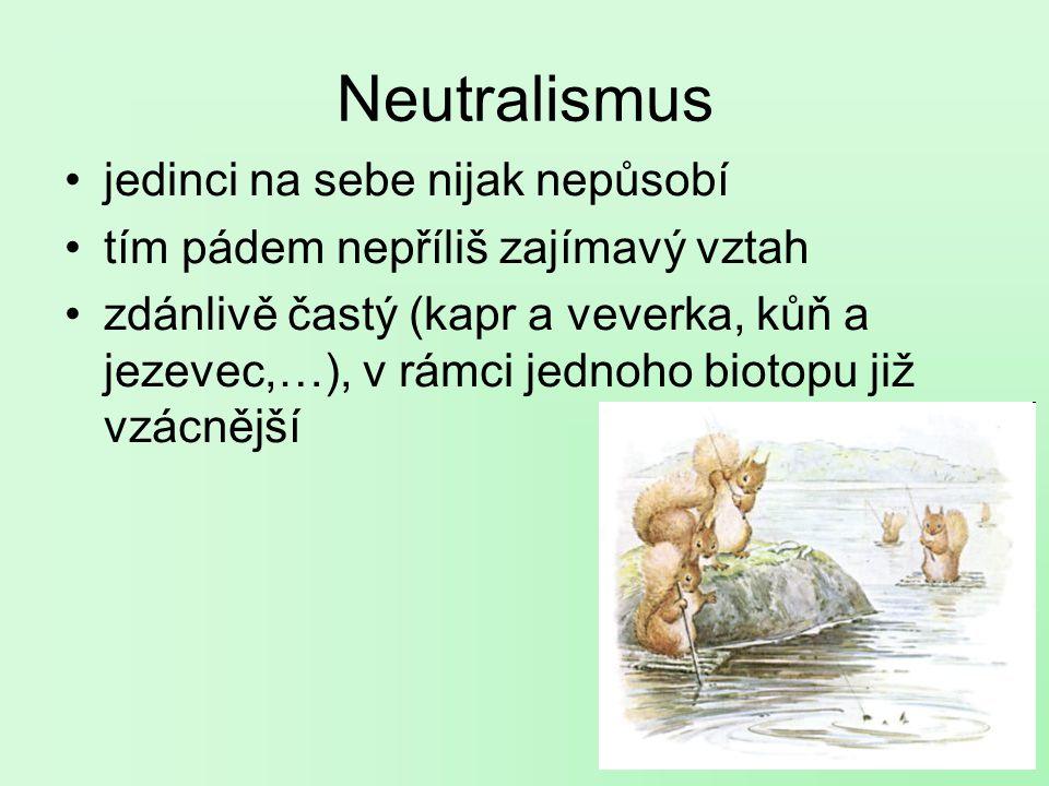 Neutralismus jedinci na sebe nijak nepůsobí tím pádem nepříliš zajímavý vztah zdánlivě častý (kapr a veverka, kůň a jezevec,…), v rámci jednoho biotopu již vzácnější