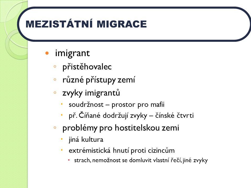 imigrant ◦ přistěhovalec ◦ různé přístupy zemí ◦ zvyky imigrantů  soudržnost – prostor pro mafii  př.