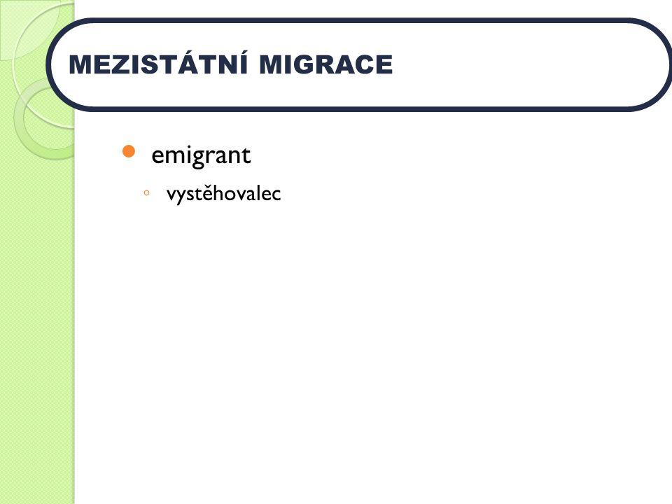 emigrant ◦ vystěhovalec MEZISTÁTNÍ MIGRACE