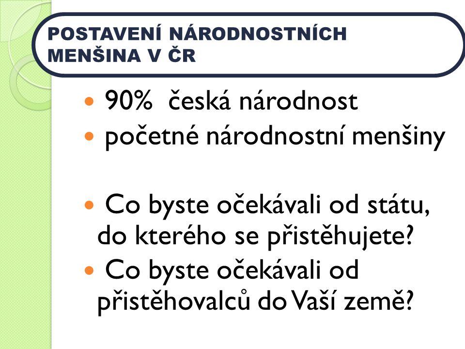 90% česká národnost početné národnostní menšiny Co byste očekávali od státu, do kterého se přistěhujete? Co byste očekávali od přistěhovalců do Vaší z