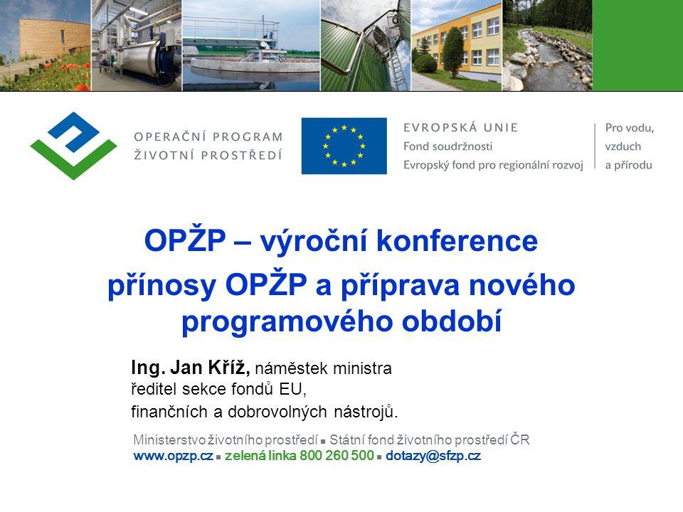 Ministerstvo životního prostředí Státní fond životního prostředí ČR www.opzp.cz zelená linka 800 260 500 dotazy@sfzp.cz OPŽP – výroční konference přín