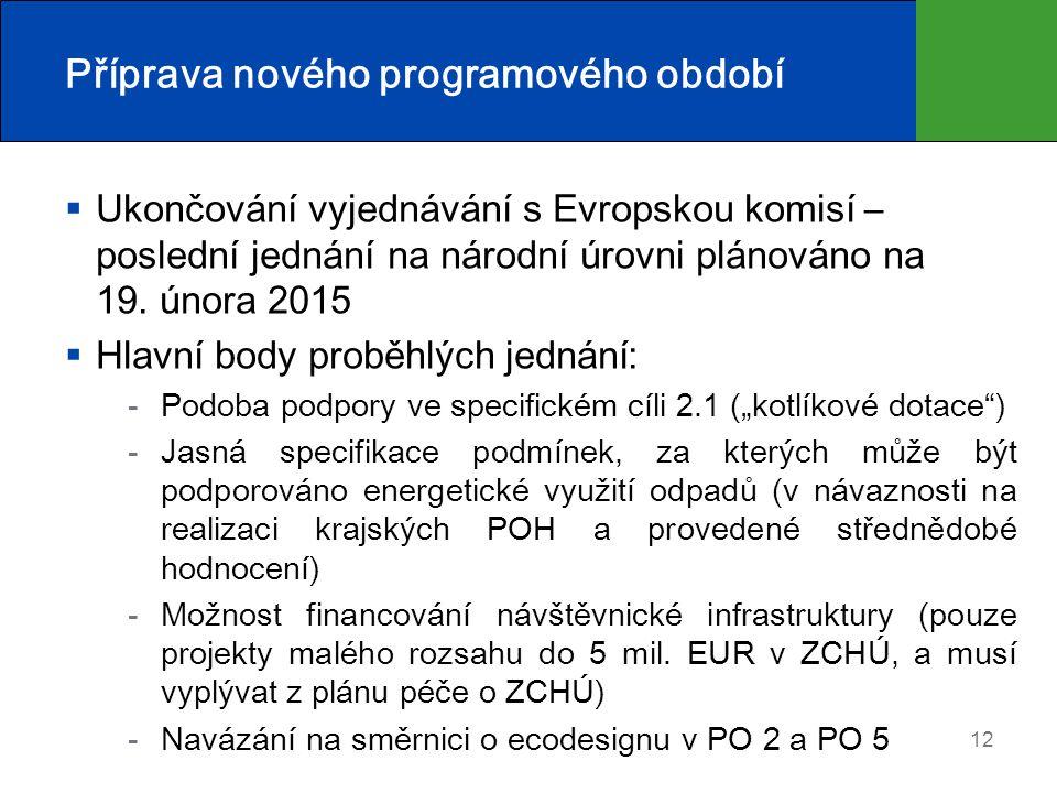Příprava nového programového období  Ukončování vyjednávání s Evropskou komisí – poslední jednání na národní úrovni plánováno na 19. února 2015  Hla