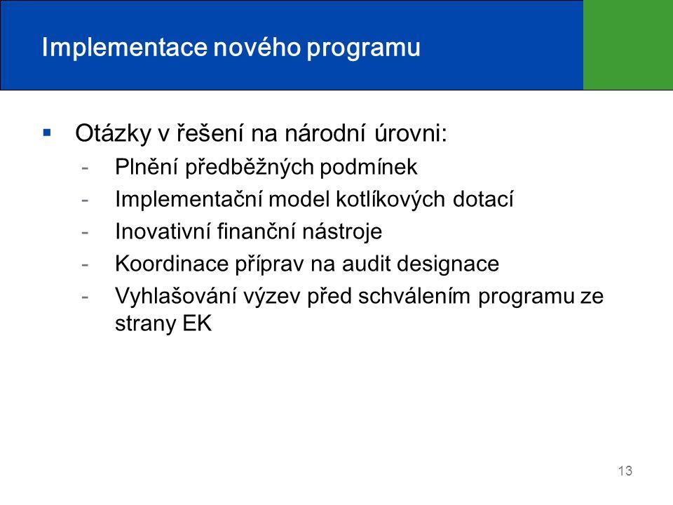 Implementace nového programu  Otázky v řešení na národní úrovni: Plnění předběžných podmínek Implementační model kotlíkových dotací Inovativní finanční nástroje Koordinace příprav na audit designace Vyhlašování výzev před schválením programu ze strany EK 13