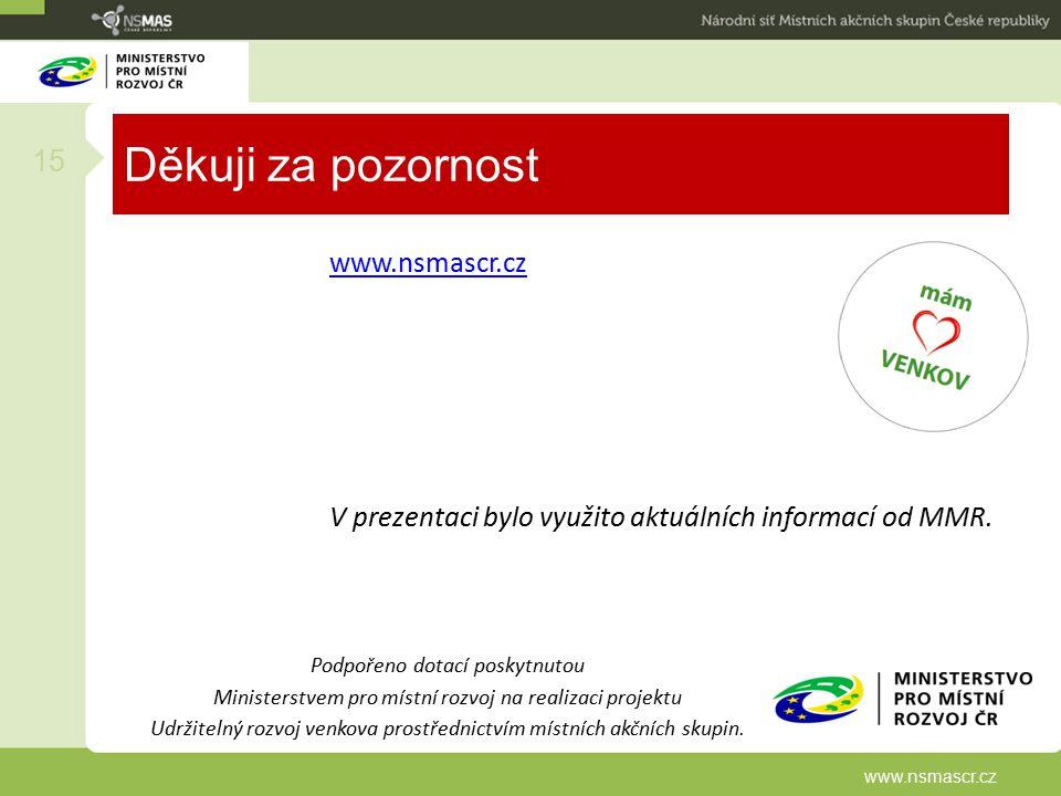 Děkuji za pozornost www.nsmascr.cz V prezentaci bylo využito aktuálních informací od MMR. 15 www.nsmascr.cz Podpořeno dotací poskytnutou Ministerstvem
